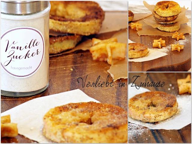 Collage Rezept Panierte Apfelringe oder Apfelschnitzel, hausgemachter Vanillezucker