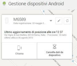 localizzare e cancellare da remoto Android
