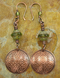 Celtic Etched Copper Earrings