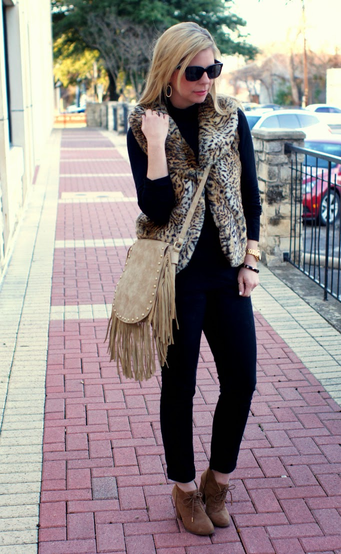 animal print leopard fur vest