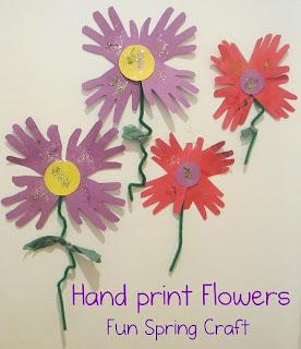 Flores de impresión de la mano