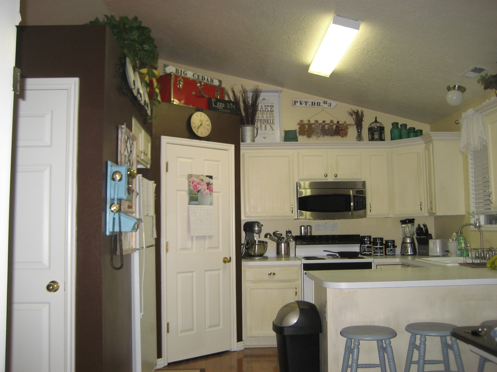 Paint me shabby filling the awkward space above kitchen What to do with space above cabinets