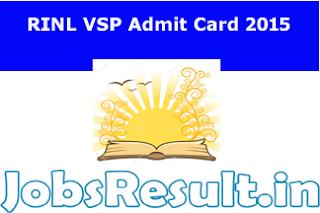 RINL VSP Admit Card 2015