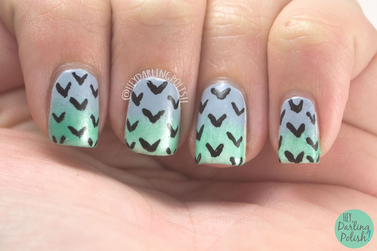 nails, nail art, nail polish, gradient, green, blue, pattern, hey darling polish, 31 day challenge, 31dc2014