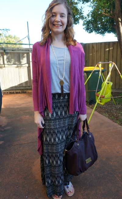 Away From Blue: purple cardigan grey tee Aztec print maxi skirt Ikwetta sandals