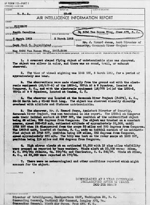 Crescent Shaped UFO Over Savannah River Project (1 of 2) 3-5-1953