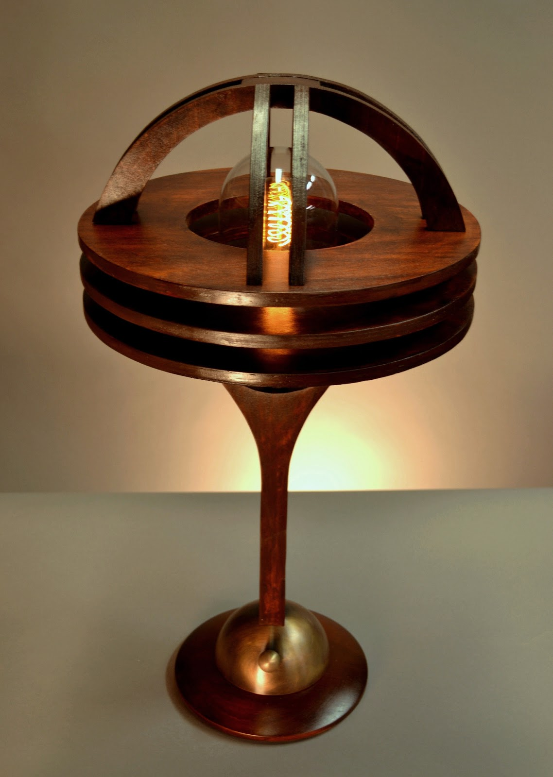 Sagemarinedetails sage marine table lamp designed and hand made by art donovan solid mahogany and acid washed solid brass glass dome with a vintage spiral filament bulb geotapseo Gallery