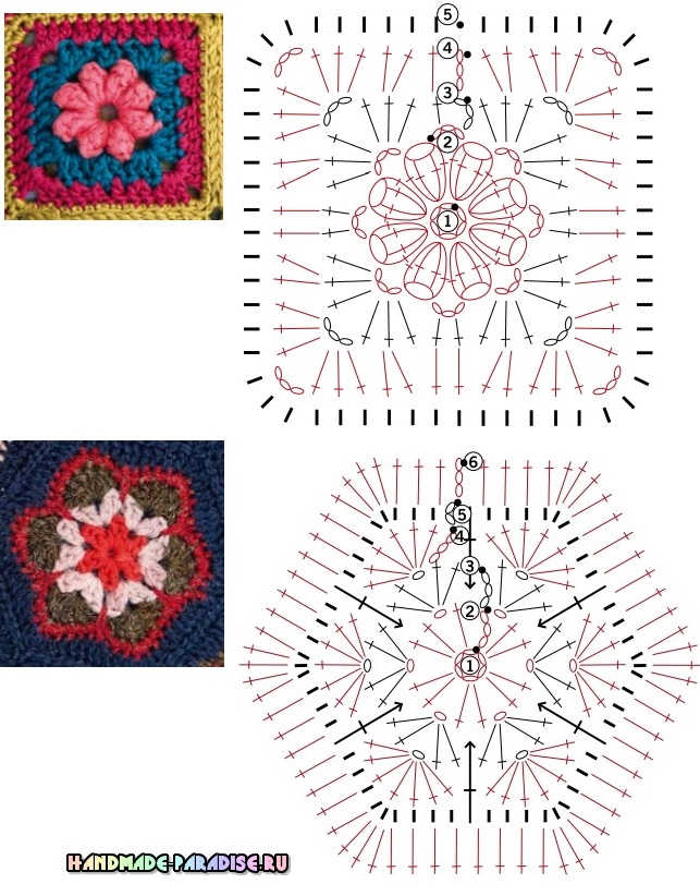 Схемы мотивов крючком для вязания пледов