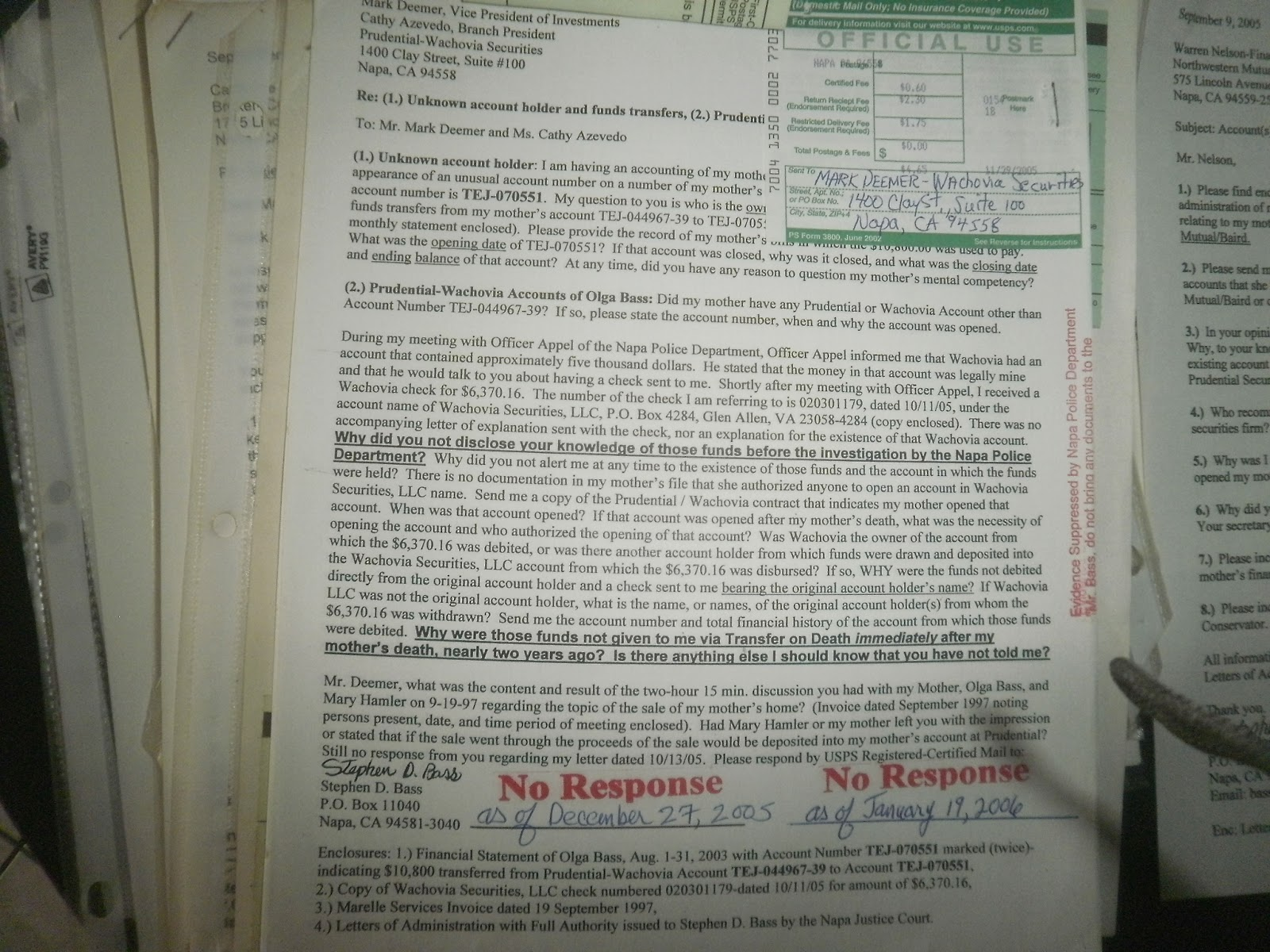 Complaint Letter To Mark Deemer And Cathy Azevedo Prudential
