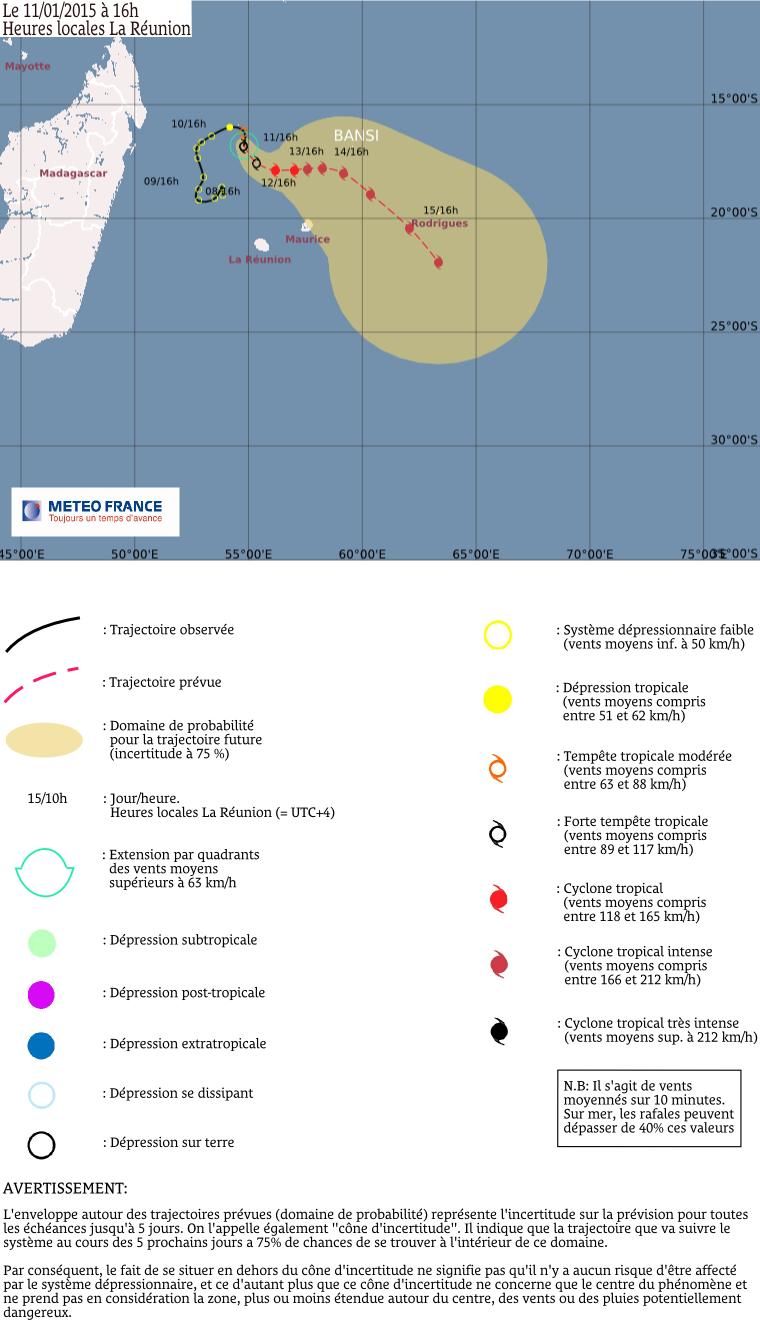 Forte tempête tropicale Bansi: le point à 16h00