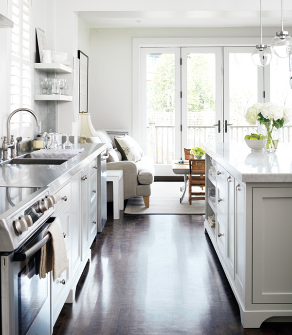 Black eiffel another gorgeous white kitchen for Black and white galley kitchen