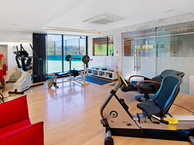 Photo of private gym in the Bel Air modern residence