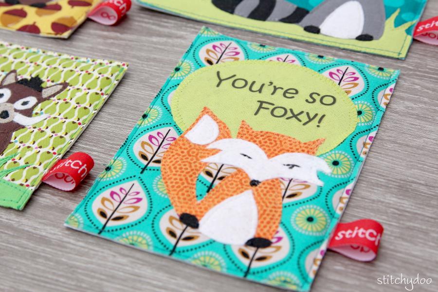 stitchydoo: Stoffkartentausch | Meine genähten Karten im Oktober - Fuchs, you're so foxy