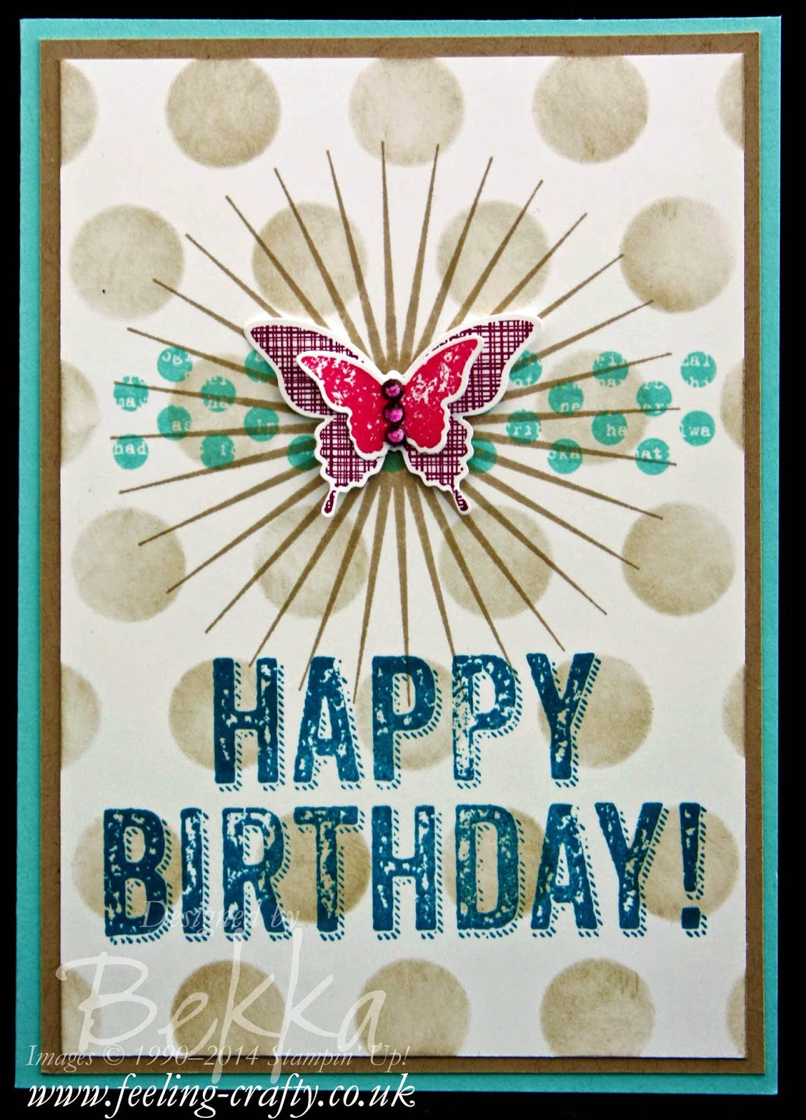 Kinda Eclectic Birthday Card by Stampin' Up! UK Independent Demonstrator Bekka - check her blog for lots of great ideas