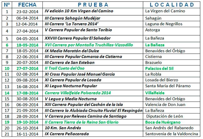 Calendario Copa Diputacion Leon 2014
