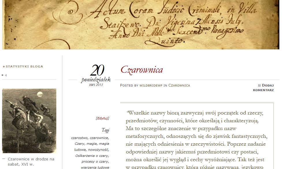 Strona internetowa o czarownicach