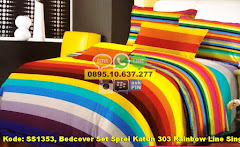 Harga Bedcover Set Sprei Katun 303 Rainbow Line Single Jual