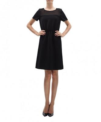 koton siyah elbise , yaka detaylı günlük ve şık