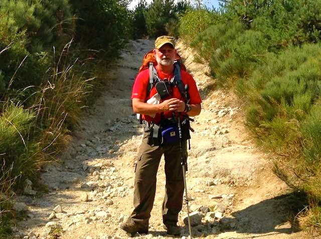 Charles hiking the path to Santiago de Compostela in Spain