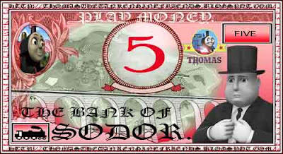 Red engine James Thomas the train fake printable play money for kids number five 5 toy paper bill