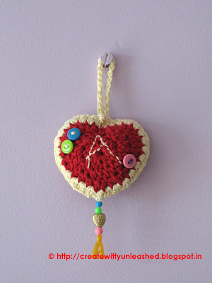 Crochet heart tag