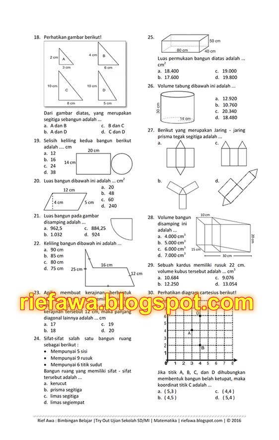Soal Latihan Ujian Sekolah Us Matematika Kelas Sdmi Download Lengkap