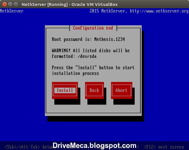 DriveMeca instalando NethServer Linux paso a paso