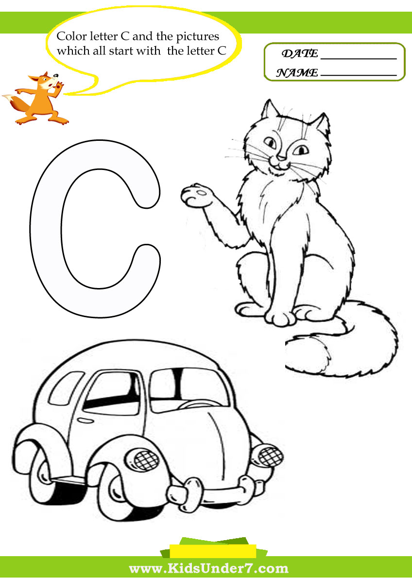Kids Under 7: Letter Ð¡ Worksheets and Coloring Pages