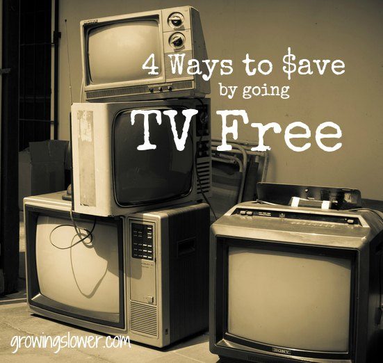 Check out these 4 ways to save money by going TV Free...#4 will save you big! www.growingslower.com #moneysavingtips #savemoney