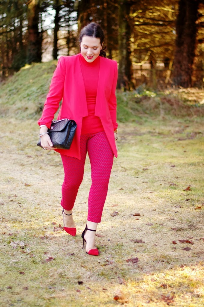 Red BCBG Andres Cutaway blazer and Old Navy Diva pants