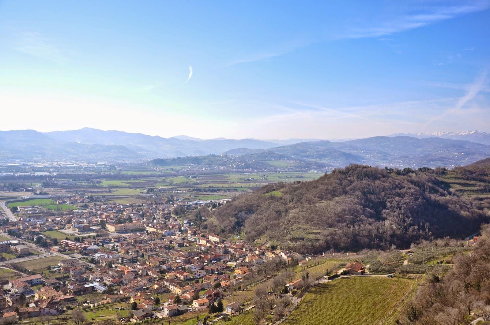 Montechio Maggiore seen from the top of Romeo's Castle, Veneto, Italy
