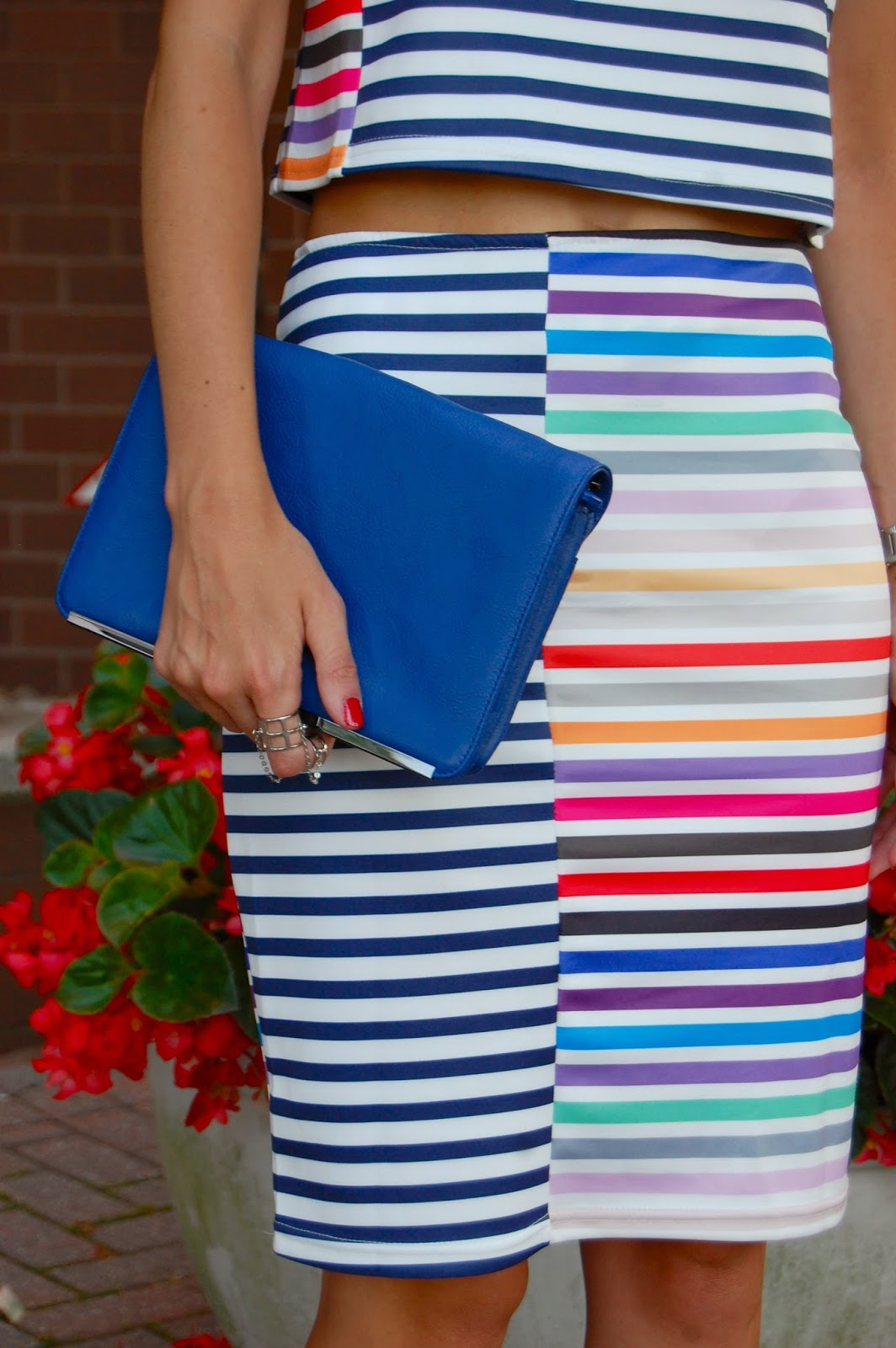 Wearing Sheinside Blue White Striped Short Sleeve Top With Bodycon Skirt, Mulit colored striped crop top and matching pencil skirt, Nordstrom anniversary sale 2014 Halogen fold over cross body clutch, Forever21 clear sunglasses