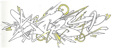 Graffiti Mural2012 Sketch Wildstyle Black Yellow On Paper