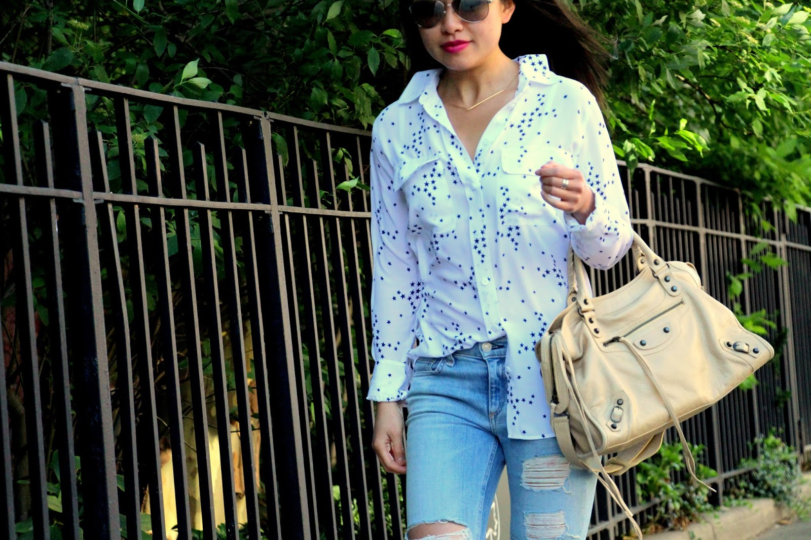 equipment white stars blouse balenciaga rag and bone