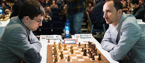 Ronde 3 : la seule partie d'échecs décisive du jour entre Maxime Vachier-Lagrave et Veselin Topalov, n°2 mondial