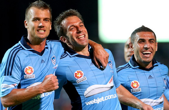 Alessandro Del Piero celebrates with Sydney FC teammates after scoring against Perth Glory