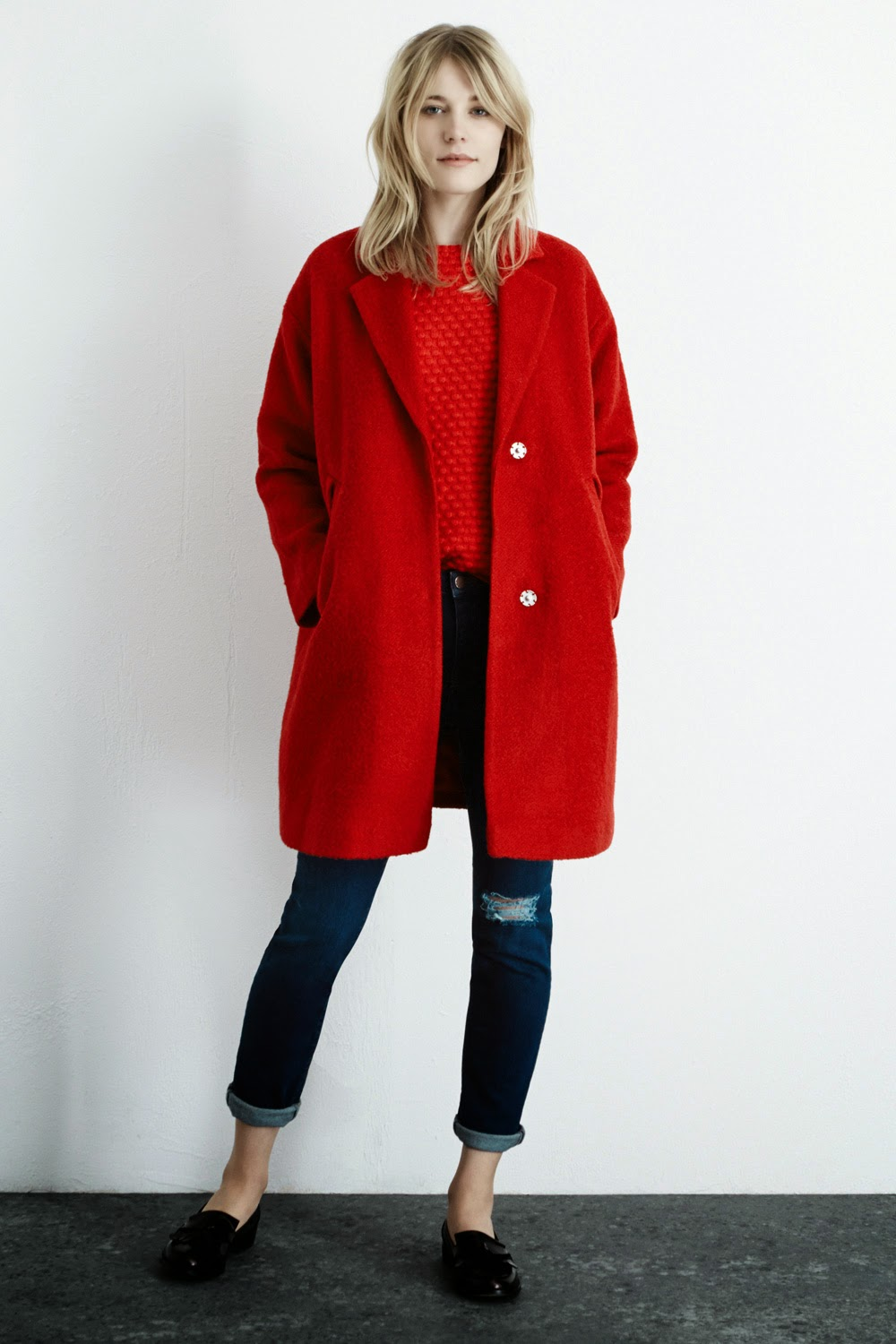 red warehouse wool coat
