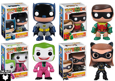 Batman 1966 Television Series DC Comics Pop! Heroes Vinyl Figures by Funko - Adam West's Batman, Burt Ward's Robin, Cesar Romero's The Joker & Julie Newmar's Catwoman