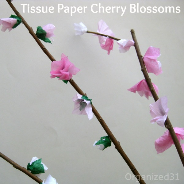 Organized 31 - Tissue Paper Cherry Blossoms