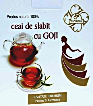 Imaginea cutiei de ceai de slabit cu Goji, rooibos, ierba mate, menta egipteana si ghimbir