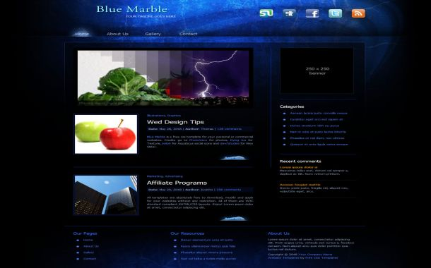 Free Abstract Blue Black CSS Website Template