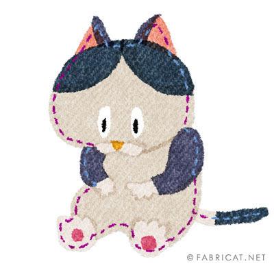 腹を触る可愛い黒ブチ猫のイラスト