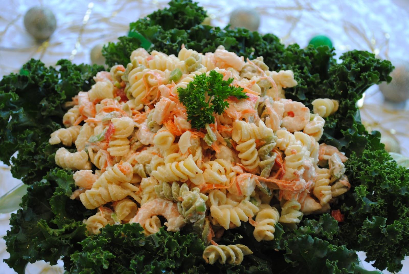 merry christmas pasta shrimp salad