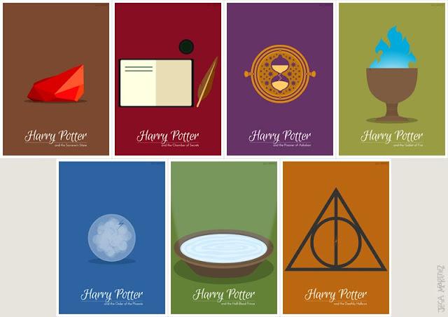 Harry Potter Minimalist Book Covers ~ Iconographicserieswithtypepublicservice animated gif