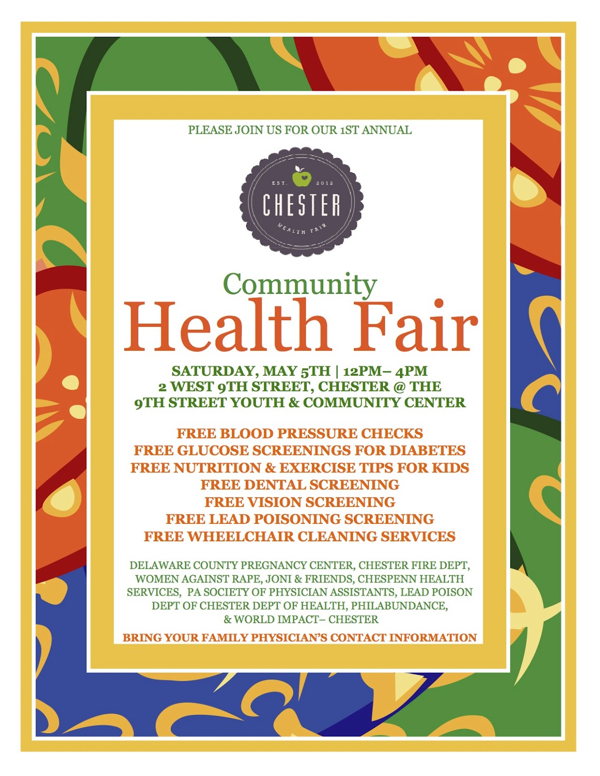 The Chester City Blog: Chester Health Fair May 5th