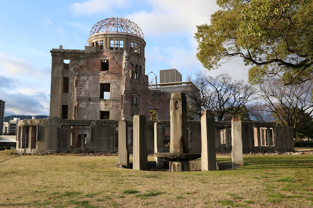 A close view of Hiroshima Peace Memorial (Genbaku Dome) or also known as A-Bomb Dome in Hiroshima, Japan