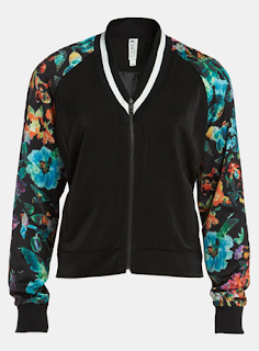 Mural 'Low Blocked' Bomber Jacket Floral Sleeves