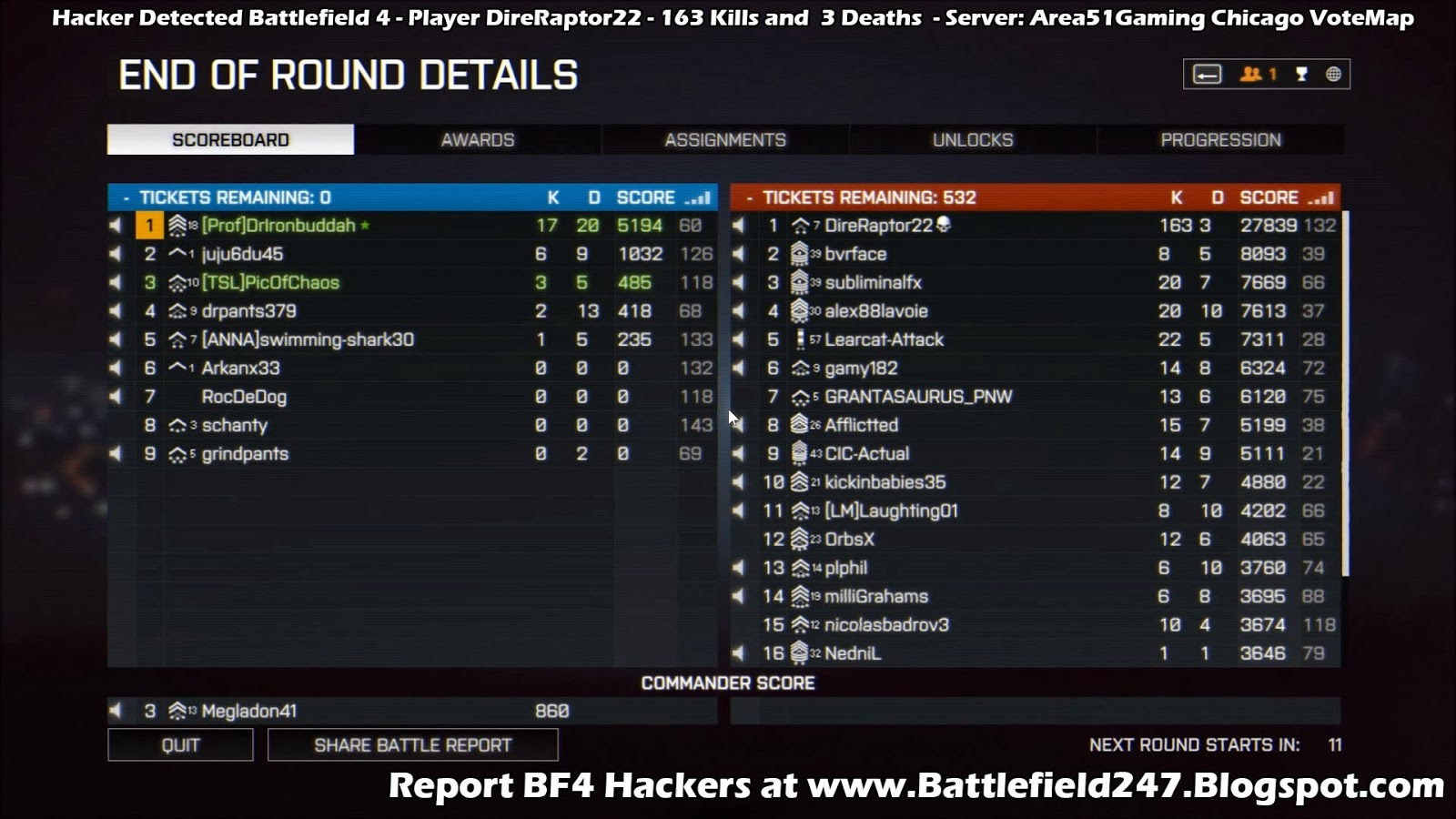 Busted DireRaptor22 BF4 Hacker Cheater 163 to 3 K/D