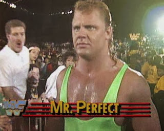 WWF / WWE: Wrestlemania 5 - Mr. Perfect gets ready to face 'The Blue Blazer' Owen Hart