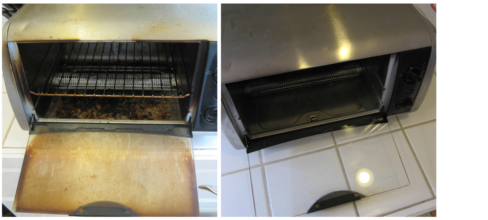 how to clean dirty toaster oven